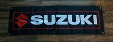 New Suzuki Motorsports Banner Flag 1.5 x 5 Black Motorcycle Racing Moto GP