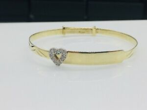 Genuine 9ct Gold Baby CZ Heart Expanding Bangle Free Engraving
