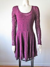 Free People Goth Purple Victorian Loves Lace Tulle Long Sleeve Mini Dress XS
