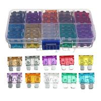 100Pcs Box Car Vehicle Assorted Standard Blade Fuse Set 2A-35A 10 Model M Size