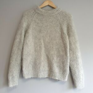 COS Womens Size S Grey Chunky Knit Mohair Fluffy Jumper Warm Cosy Winter Soft