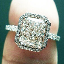 2.60 Ct. Natural Radiant Cut Halo Pave Diamond Engagement Ring - GIA Certified
