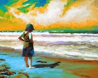 """perfect oil painting handpainted on canvas """"a little girl beside the sea"""" NO1499"""
