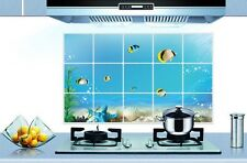 Blue Sea Fish Shell Kitchen Wall Decal Sticker Kitchen Exhaust Grease Oil Proof