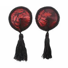 Nipple Tassel Red & Black Round Floral Design Breast Bra Lingerie Burlesque Sexy