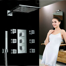 "Chrome Thermostatic 8"" Rain Shower Faucet Set 6 Massage Jets Sprayer Hand Shower"