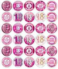 30x 18th Birthday Girl Pink Cupcake Toppers Edible Wafer Paper Fairy Cake Topper