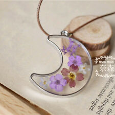 Moon Shaped Natural Jewelry Real Dried Flowers Pendant Chain Short Necklace Hot