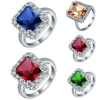 18K White Gold Filled Gemstone Silver Wedding Band Ring Jewelry Gift Size 7-10