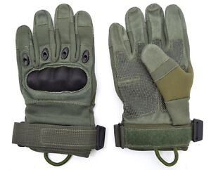 US Army Tactical Hard Knuckle Gloves Sage Green Combat Security Leather
