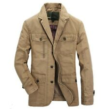 Newest Mens Casual Blazer Jacket Coat Cotton Vintage Military Pilot Cargo Jacket