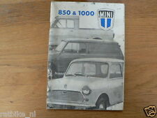 MINI 850 & 1000 1971   HANDLEIDING OWNERS MANUAL,INSTRUCTION BOOK