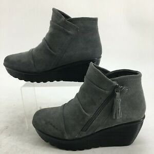 Skechers Parallel Triple Threat Ankle Booties Womens 8 Grey Suede Casual 48733