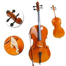 More details for 4/4 size natural wood cello set for student beginners player uk