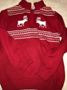 Gymboree Boys Large 1/4 Zip 10 12 Red White Fair Isle Sweater PERFECT Fleece