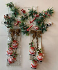 Vintage Plastic Christmas Decorations: Santa, Holly Garland & 2 Wall Hangers