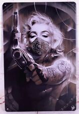New Metal Tin Sign Cool Girl With Gun Home Pub Garage Wall Decor Painting Art