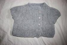 gilet doux gris tricote fait main 18 mois