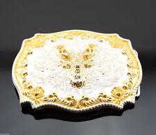 Western Cowboy Rodeo Metal Belt Buckle Gold & Silver Plated Deer Buck Head