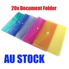 20pcs A4 Plastic Document File Folder Wallet Pocket Envelope 4 Assorted Colours