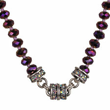 NEW KIRKS FOLLY TIMELESS CRYSTAL  BEAD MAGNETIC NECKLACE SILVERTONE/PURPLE IRIS