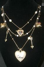 Betsey Johnson Multi Chain Necklace ~ Heart & Arrow Charms & Crystal Accents New