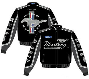 Ford Mustang Jacket Unisex Black Cotton Twill Collage Embroidered JH Design NEW!