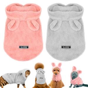 Dog Cat Pajamas Warm Fleece Hoodie with Hat Winter Sleep Clothes Pet Coat XS S M