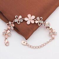 Mode 18K Rose Gold überzogen Frauen Rosa Katzenauge Opal Blume Kette Armband
