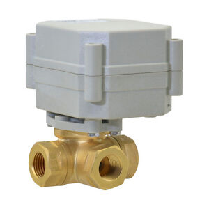 "NPT 3/8"" L Type Brass Motorized Ball Valve DC 24V,3-Way Electrical Ball Valve"