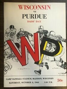 WISCONSIN VS PURDUE DAD'S DAY COLLEGE FOOTBALL PROGRAM 1960 VERY GOOD CONDITION