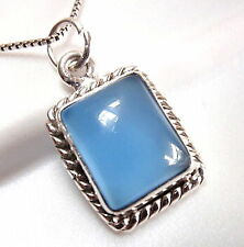 Small Chalcedony 925 Sterling Silver Pendant with Rope Style Border Accent
