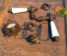 Wc-Tür Drehbeschlag mit Klinken Keramikgriff - Toilettenverschluss besetzt+frei