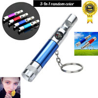 3In1 Keychain Flashlight Compass Whistle Camping Survival Hiking Tool Torch