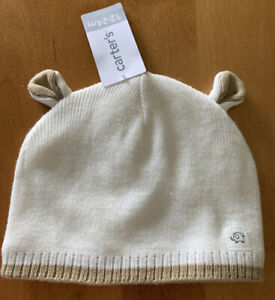 Carter's Knit Bear Winter Cap Ivory/Brown Size: 12-24M NWT (MCL)