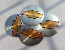4pcs 56mm Silver Wheels Center Cap Emblem Badge Alloy Decal Sticker For Chevy