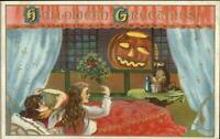 Halloween Girls in Bed Scared by JOL Series 116 c1910 Embossed Postcard