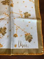 Vintage Vera Neumann Scarf 1960s Orange Japan Ladybug Floral Neutral Midcentury