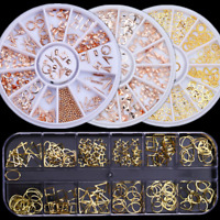 Nail Rivets Studs Rose Gold Hollow Seashell Feather 3D Nail Art in Wheel Decors