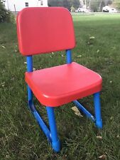 VTG 1980's Fisher Price Child Size Chair Preschool Art Crafts Red Blue Metal (b)