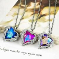 2019 Fashion Angel Wing Necklace Heart Rhinestone Crystal Chain Pendant Jewelry