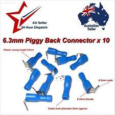 """1/4"""" 6.3mm Piggy Back Crimp Spade Connector Terminals x 10   12V Piggyback Blade"""