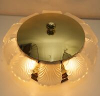 Decken Lampe Leuchte Plafoniere Messing Glas 70s Brass Flush Mount Led Light