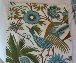 """Pottery Barn Pillow Cover Embroidered Bird, flower/plants, 24"""" x 24"""""""