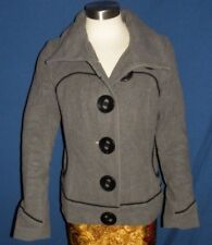 Soia Kyo Wool Short Coat jacket Gray Black Accents Size Small Big Buttons NICE!