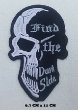 Totenkopf Skull Hind the Dark Side Biker Embroidered Sew On iron on patch No-443