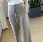 Womens Cashmere Knitted Wide-leg Pants Elastic High Waist Woolen Trousers