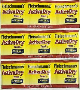 FLEISCHMANN'S ACTIVE DRY ORIGINAL YEAST 3 STRIPS =9 PACKETS 1/4 OZ EXP FLEICHMAN