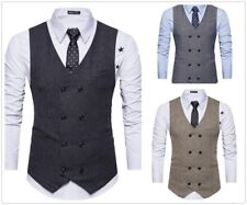 2018 Double-Breasted Men's Vest Wool Herringbone Tweed Formal Slim Fit In Stock