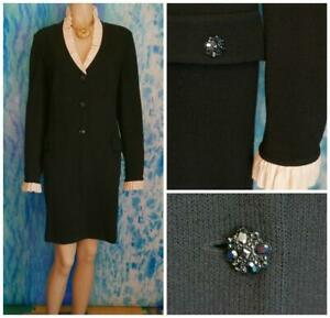 St. John Evening Black Jacket L 12 14 Coat Dress Cream Trim Rhinestone Buttons